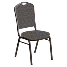 Embroidered Crown Back Banquet Chair in Circuit Maple Fabric - Gold Vein Frame