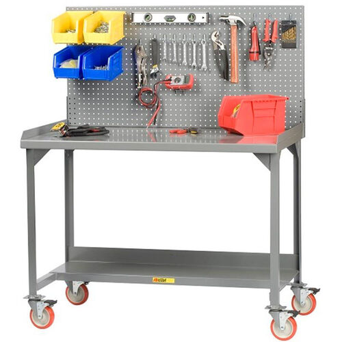 Our Mobile Welded Workbench with Pegboard and 5