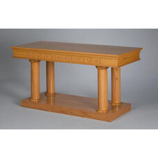 Stained Red Oak Open Communion Table with Tapered Column Legs