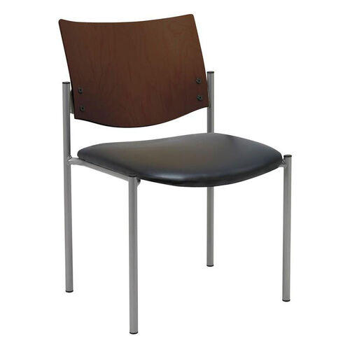 Our 1300 Series Stacking Armless Guest Chair with Chocolate Wood Back -Vinyl Seat is on sale now.