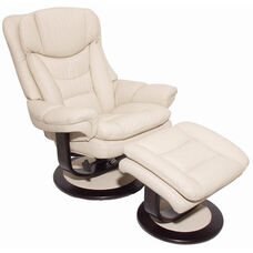 Roscoe Leather Match Pedestal Recliner with Ottoman - Frampton Ivory