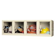 Safety Clear View Plus Box Four Wide Locker Unassembled - Wall Mount - Parchment Finish - 48