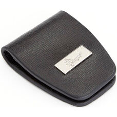 Slim Magnetic Money Clip - Saffiano Genuine Leather - Black