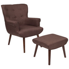 Bayton Upholstered Wingback Chair with Ottoman in Brown Fabric