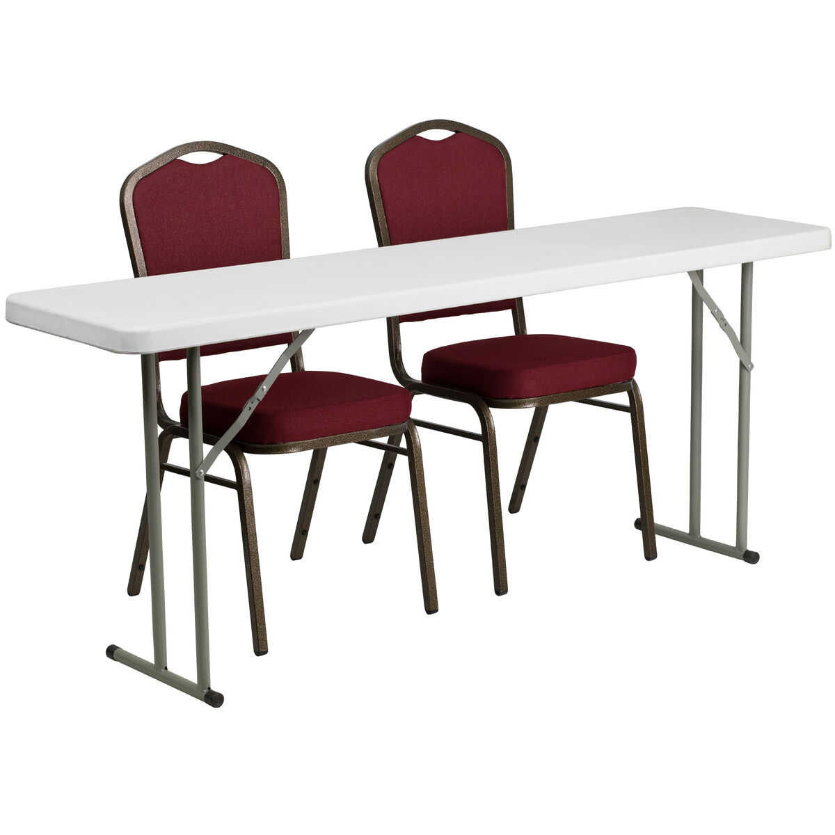 Our 18 X 72 Plastic Folding Training Table Set With 2 Crown