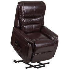 HERCULES Series Brown Leather Remote Powered Lift Recliner