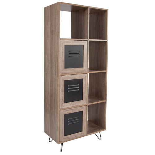 """Our Woodridge Collection 63""""H 5 Cube Storage Organizer Bookcase with Metal Cabinet Doors in Rustic Wood Grain Finish is on sale now."""