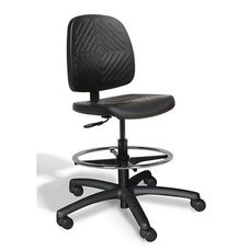 Rhino Intensive Use Medium Back Mid-Height Drafting Chair - 3 Way Control - Black