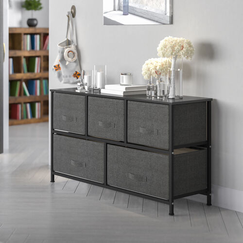 Storage Unit Chest, Drawer Organizer with sturdy steel frame, wood top and easy to pull fabric drawers - Black/Gray