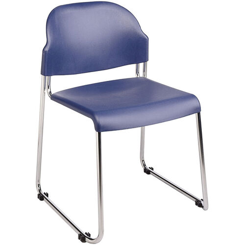 Our Work Smart Stack Chair with Plastic Seat and Back and Steel Frame - Set of 4 - Blue is on sale now.
