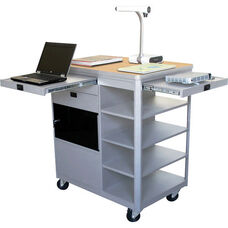 Vizion Presenter Multimedia Cart with Acrylic Doors and Four Side Shelves - Kensington Maple Laminate