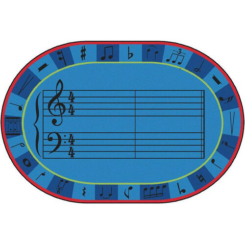 Our Kids Value A-Sharp Music Oval Nylon Rug - 72