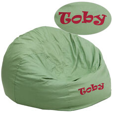 Personalized Oversized Solid Green Bean Bag Chair for Kids and Adults