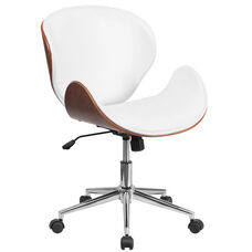 Mid-Back Walnut Wood Conference Office Chair in White Leather