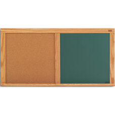 Cork and Chalkboard Combination Board with Wood Trim - 48
