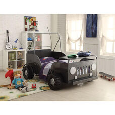 Casper Complete Twin Bed with Desk Shelf - Safari Car - Gun Metal and Black