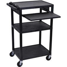 3 Shelf High Open A/V Utility Cart with Front Pullout Shelf and 3 Outlet Surge - Black - 24