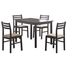 Solid Wood 5 Piece Dining Set with Upholstered Ladder Back Chairs - Cappuccino