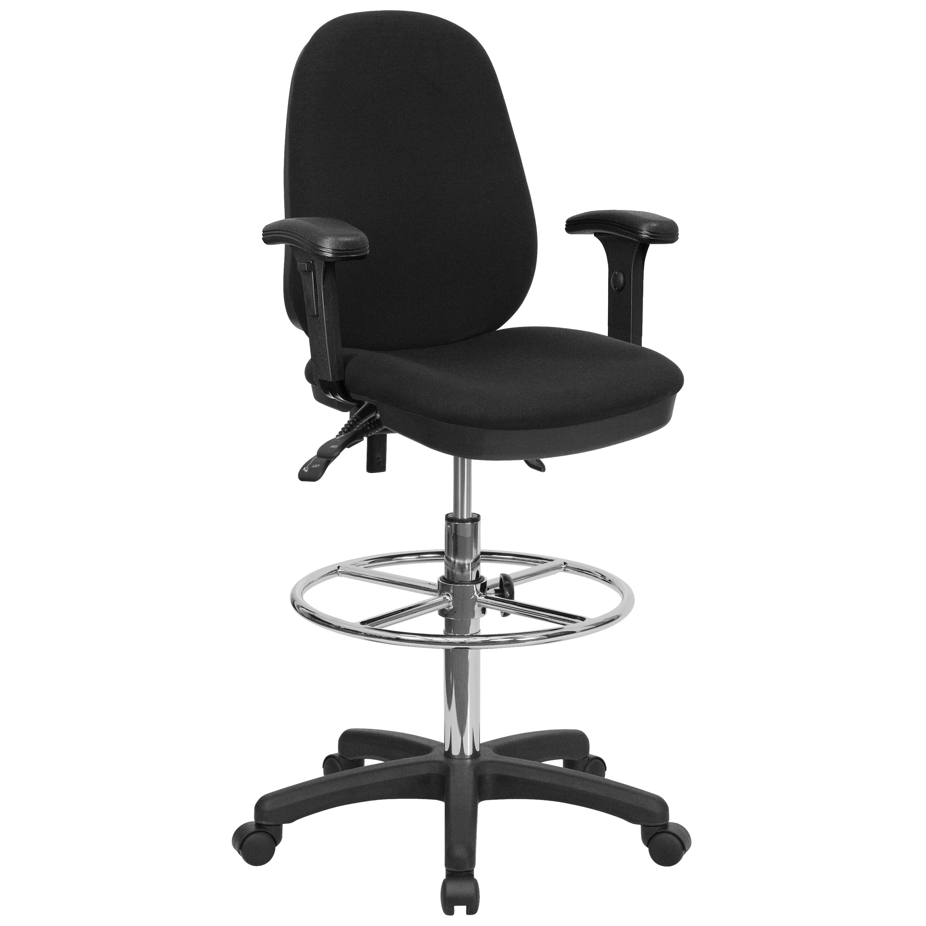 ... Our Black Multifunction Ergonomic Drafting Chair With Adjustable Foot  Ring And Adjustable Arms Is On Sale ...
