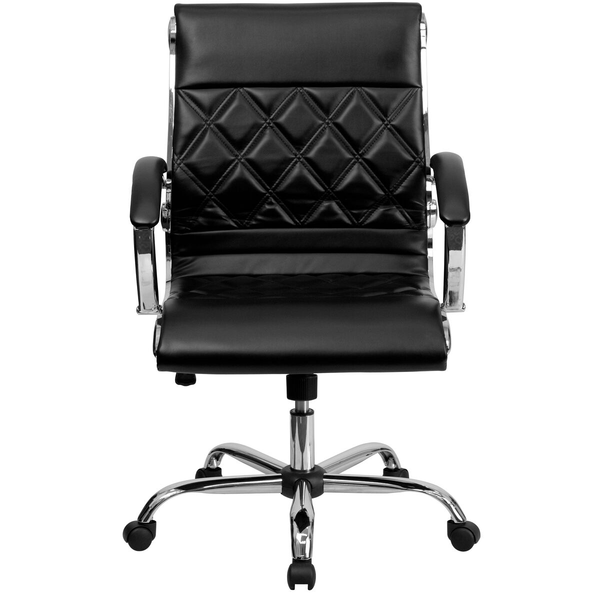 Black Mid Back Leather Chair Go 1297m Mid Bk Gg Bizchair Com