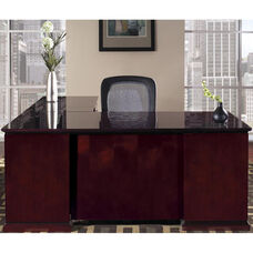 OSP Furniture Mendocino Hardwood Veneer L-Shaped Desk with Pedestals