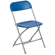 HERCULES Series 650 lb. Capacity Premium Blue Plastic Folding Chair