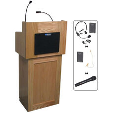 Oxford Two Piece Wireless 50 Watt Sound and Hand Held Mic Lectern - Oak Finish - 22
