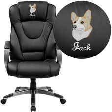Embroidered High Back Black LeatherSoft Executive Swivel Office Chair with Titanium Nylon Base and Loop Arms