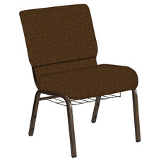 Embroidered 21''W Church Chair in Lancaster Rust Fabric with Book Rack - Gold Vein Frame