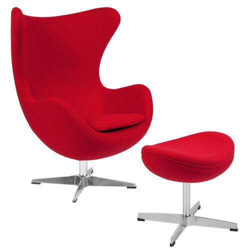 Our Red Wool Fabric Egg Chair with Tilt-Lock Mechanism and Ottoman is on sale now.