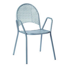 Work Smart Metal Stacking Chairs with Arms - Set of 4 - Grey