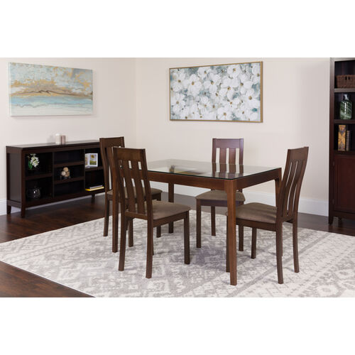 Our Belvedere 5 Piece Espresso Wood Dining Table Set with Glass Top and Vertical Slat Back Wood Dining Chairs - Padded Seats is on sale now.