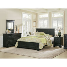 Inspired By Bassett Farmhouse Basics King Bedroom Set with 2 Nightstands and 1 Dresser with Mirror