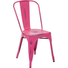 OSP Designs Bristow Stackable Armless Metal Chair - Set of 2 - Antique Pink