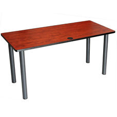 60''W Rectangular Shaped Training Table Top with Black Powder Coated Steel Legs - Cherry