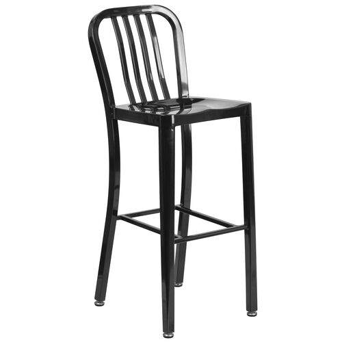 "Our Commercial Grade 30"" High Metal Indoor-Outdoor Barstool with Vertical Slat Back is on sale now."