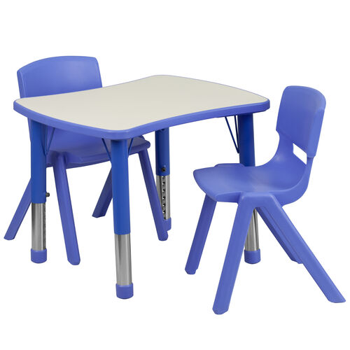 """Our 21.875""""W x 26.625""""L Rectangular Plastic Height Adjustable Activity Table Set with 2 Chairs is on sale now."""