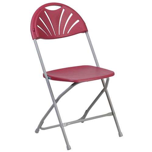 Our HERCULES Series 650 lb. Capacity Burgundy Plastic Fan Back Folding Chair is on sale now.