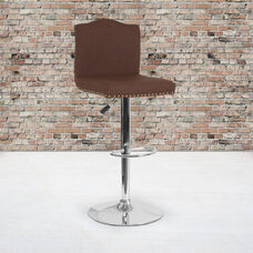 Bellagio Contemporary Adjustable Height Barstool with Accent Nail Trim in Brown Fabric