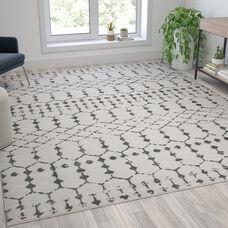 Geometric Bohemian Low Pile Rug - 8' x 10' - Ivory/Gray Polyester