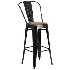 "30"" High Black Metal Barstool with Back and Wood Seat"