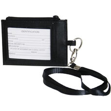 Lanyard ID Holder - Genuine Leather - Black