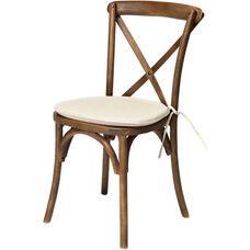 Rustic Sonoma Solid Wood Cross Back Stackable Dining Chair with Burlap X02 Cushion - Dark walnut