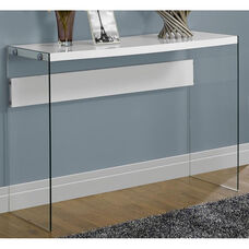 Modern 44''W Console Table with Tempered Glass Base - Glossy White