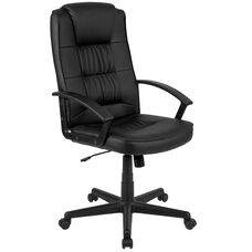 Basics High Back LeatherSoft-Padded Task Office Chair with Arms, Black, BIFMA Certified