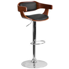 Walnut Bentwood Adjustable Height Barstool with Wrap Style Arms and Black Vinyl Seat