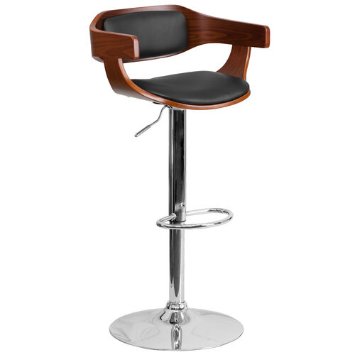 Our Walnut Bentwood Adjustable Height Barstool with Wrap Style Arms and Black Vinyl Seat is on sale now.