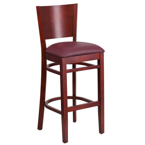 Our Mahogany Finished Solid Back Wooden Restaurant Barstool with Burgundy Vinyl Seat is on sale now.
