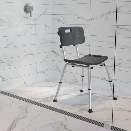 HERCULES Series Tool-Free and Quick Assembly, 300 Lb. Capacity, Adjustable Bath & Shower Chair with Back