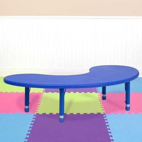 "35""W x 65""L Half-Moon Plastic Height Adjustable Activity Table"